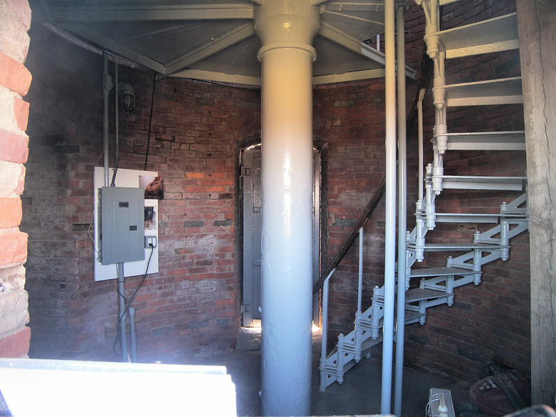 A view of the interior of the Gay Head Lighthouse tower.
