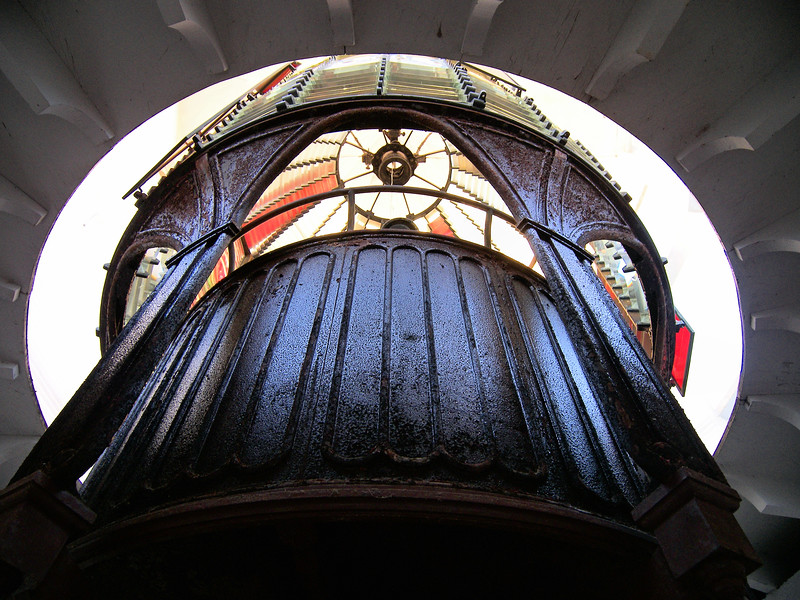 A view inside the 1,008 prism First Order Henri Lepaute Fresnel lens from the Gay Head Light. You can see the red prisms which were installed in 1874 to create an alternating red light.
