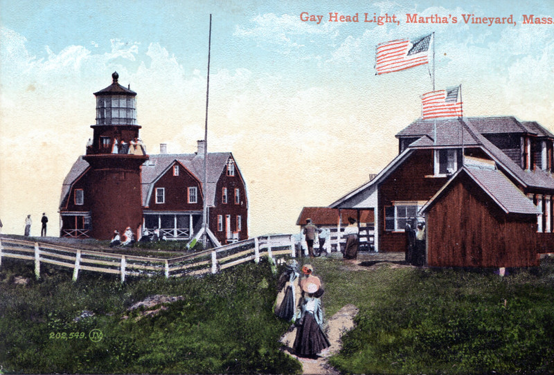 An old postcard view of the light station showing the 1902 Keepers house.