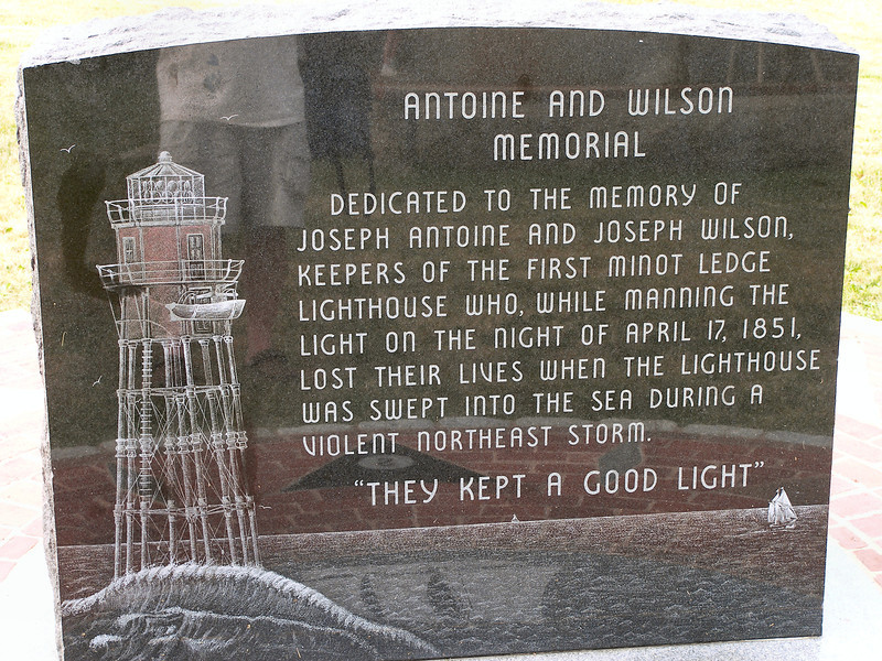 A monument was placed on Government Island in 2000 to honor the two keepers who lost their lives in the original Minots Ledge Lighthouse.