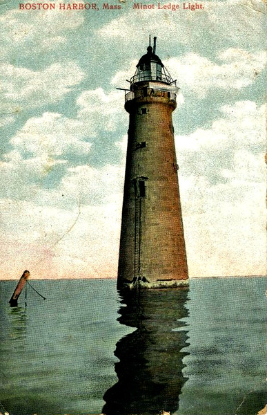 Old postcard view of the Minots Ledge Light which shows a portion of the piles from the original lighthouse. Imagine climbing the ladder in the dead of winter to gain access to the light!
