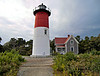 In 1981 the 4th Order lens was removed from the lantern and replaced with aerobeacons which displayed a red and white flashing characteristic.  The Fresnel lens was eventually put on display at the Cape Cod National Seashore Visitor Center in Eastham.