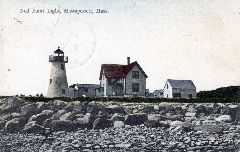 Old postcard view of the Ned's Point Lighthouse which shows the covered walkway and the Keepers house