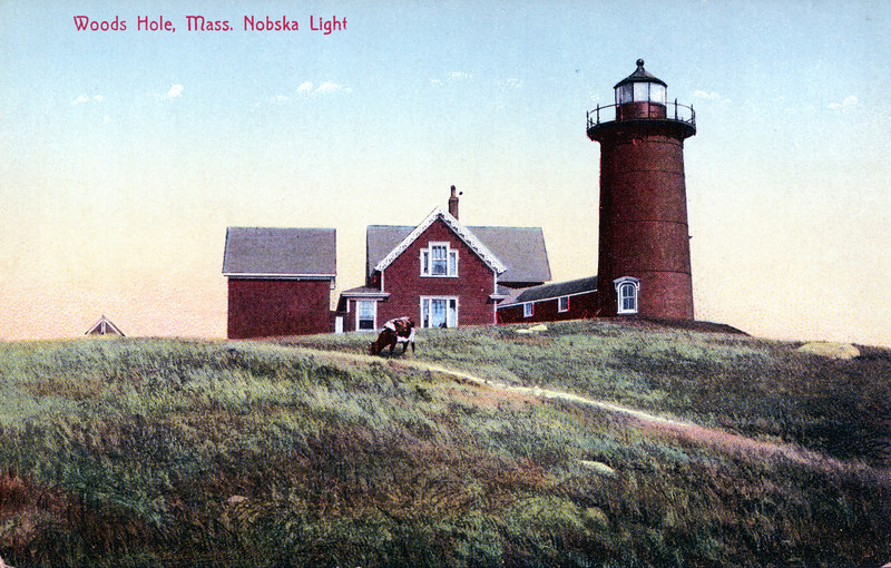 Old postcard view of Nobska Point Light showing the original color of the tower.