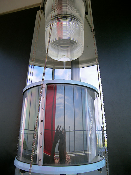 """**The modern 190mm  optic currently in the lantern** Mariner's complaints continued as the lights would still blend into a single light a short distance offshore.  An 1871 Light House Board report cited the 6th Order lenses as """"too small"""" and subsequently they were replaced with a pair of 4th Order lenses."""