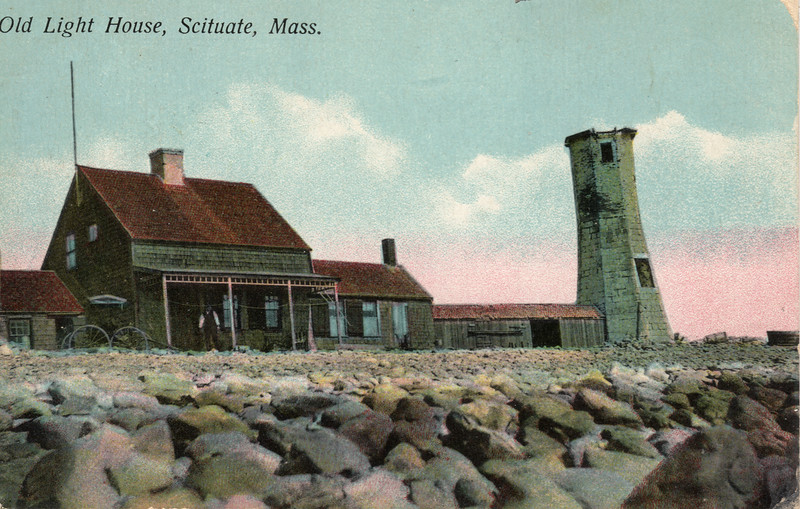 An old postcard view of the Scituate Light prior to the installation of the replica lantern in 1930.