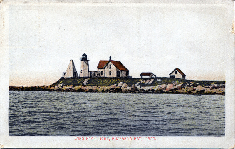 Old postcard view of the Wings Neck Lighthouse