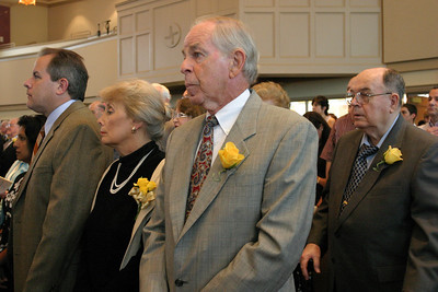 (L-r) Judy Stultz, second from left, her husband Bud and Paul Morin attend the 50th and 60th Marriage Anniversary Mass at St. Brigid Church, Johns Creek. Morin also attended with his wife Patricia (not in photo). Both couples celebrated 50 years of marriage in the second quarter of this year.