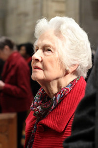 Betty Haverty Smith, 88, attends the Jan. 19 parish anniversary Mass. The Havertys were one of the prominent Catholic families who worked to see the establishment of the parish.