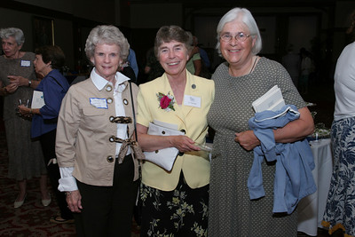 Grey Nun of the Sacred Heart Sister Joan Daly, center, converses with Penny Krautter of Our Lady of the Assumption Church, Atlanta, left, and Mary Peek of Immaculate Heart of Mary Church, Atlanta. Krautter was taught by the Grey Nuns in elementary and high school. Peek attended high school and college with some of the Grey Nuns and her sister has been a Grey Nun for 49 years.                                                            (Page 16, September 16, 2010 issue)
