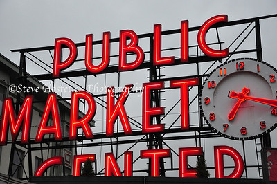 Pike Place Market sign in Seattle, WA, Fine Art Prints start at $85