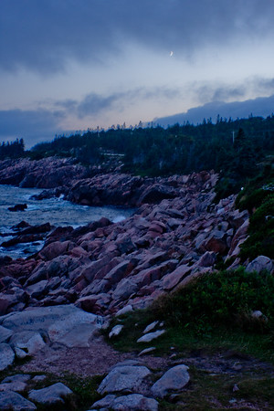 Rocks and Ocean at Night in Cape Breton Nova Scotia