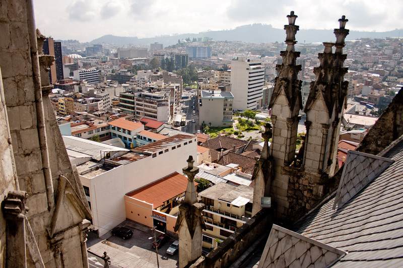 City Below the Basílica del Voto Nacional  in Quito Ecuador