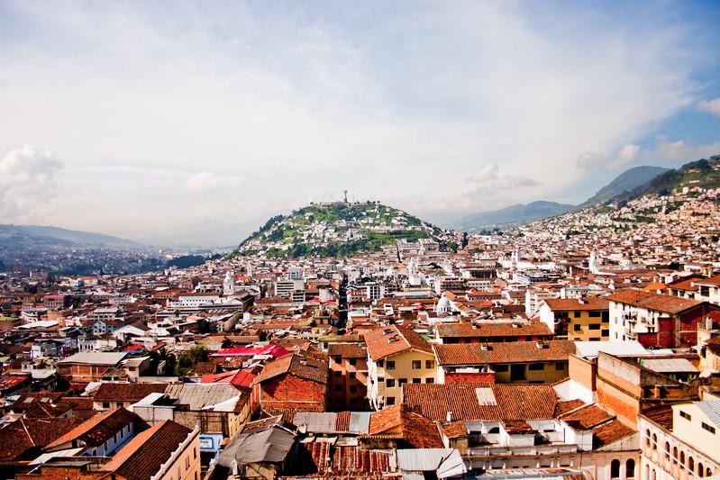 Range of Mountains and City in Quito Ecuador