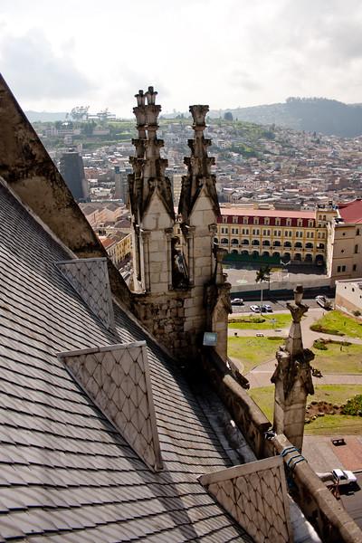 On the Roof of Basílica del Voto Nacional  in Quito Ecuador