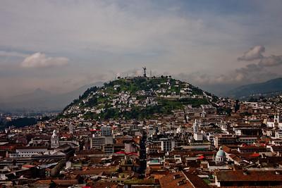 Virgin of Quito in the Distance in Quito Ecuador