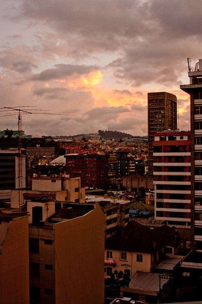 Looking onto the City at Sunset in Quito Ecuador