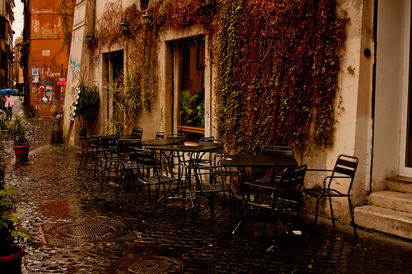 Rain on the Cafe in Rome Italy