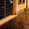 Rain on the Streets in Rome Italy