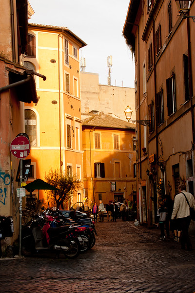 Walking through the City In Rome Italy