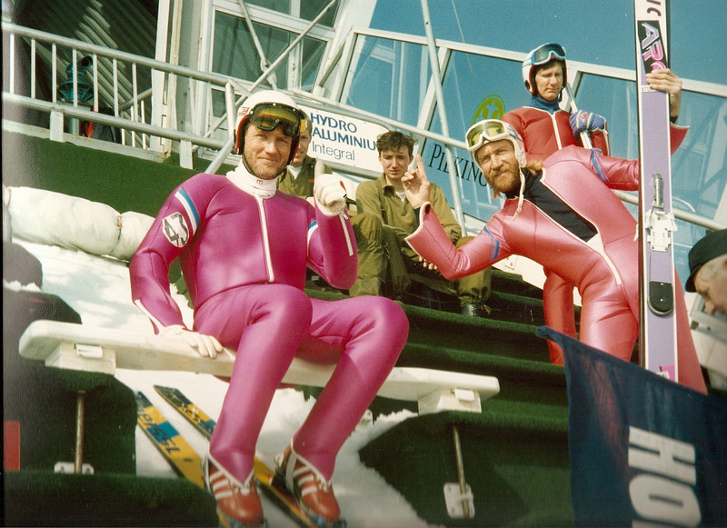 Tim Denisson, Corky Denisson and in the back (red jump suit) Rick Anderson from Coleraine.  Holmenkollen Ski Jump Oslo, Norway 1991