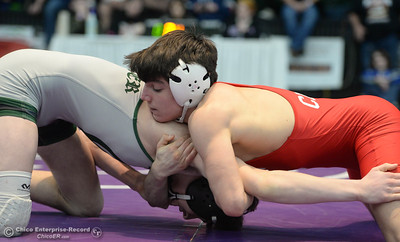 Chico High's Mere Chavez battles Chester's Bonner Montgomery during the Northern Section Master's Wresting Tournament in Redding on Friday, February 15. (Matt Bates -- Enterprise-Record)