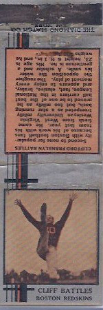 1933 Diamond Matchbooks Cliff Battles