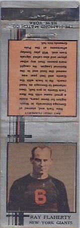 1933 Diamond Matchbooks Ray Flaherty