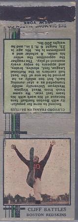 1933 Diamond Matchbooks Cliff Battles Green