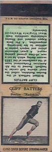 1934 Diamond Matchbooks Cliff Battles