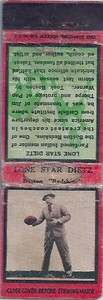 1934 Diamond Matchbooks Lone Star Dietz
