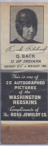 1939 Ross Jewelry Matchbooks Frank Filchock