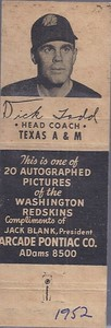 1952 Arcade Pontiac Redskins Matchbooks Dick Todd