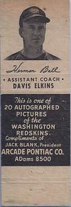 Herman Ball Assistant Coach Variation 1951 Arcade Pontiace Matchbooks