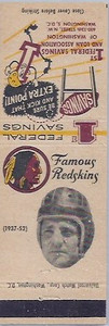 1958 First Federal Matchbooks Sammy Baugh