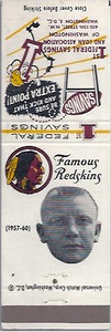 Don Bosseler 1960 First Federal Bank Redskins Matchbooks