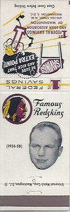 Torgy Torgeson 1960 First Federal Bank Redskins Matchbooks