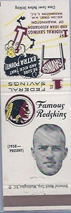 Bill Anderson 1960 First Federal Bank Redskins Matchbooks