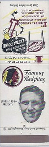 1960 First Federal Bank Redskins Matchbooks