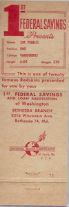 1960 First Federal Bank Redskins Matchbooks Back