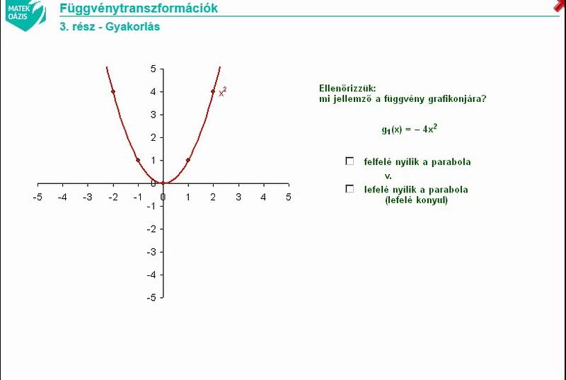 09 - függvények - 04 - függvénytranszformációk gyakorlás