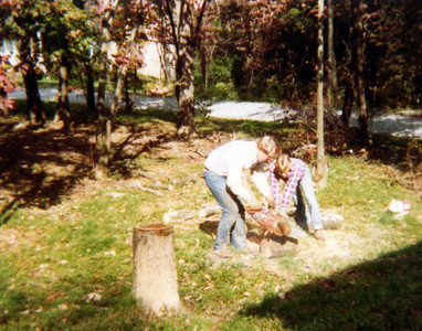 Dad and I cutting wood October 1980.