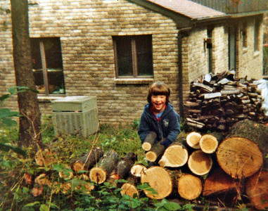 Doug stacking wood October 1980.