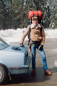 "Ben Reed and I on our first ""backpacking trip"". Was started at the snowplay area parking lot near Wawona and ""hiked"" a whopping 1/2 mile! We thought we hiked for miles due to the snow."