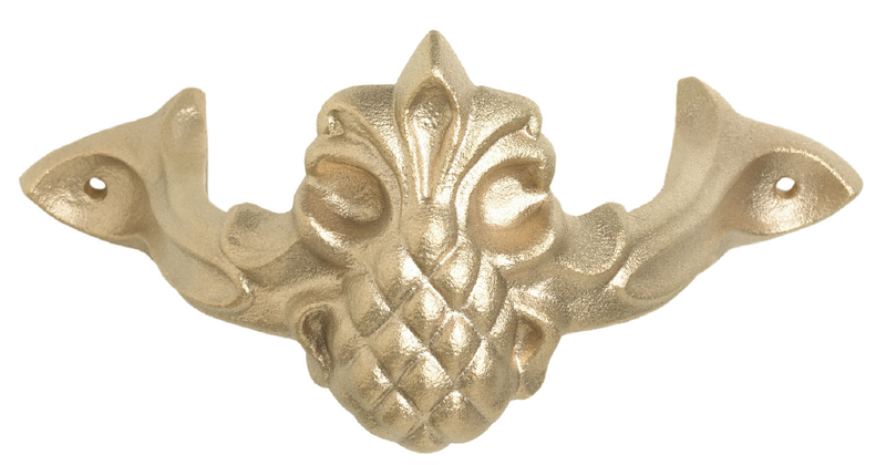 "Pineapple style cast downspout bracket<br /> <br /> FMBPI3 	3"" brass - pineapple 	6"" x 2¾"" 	1 lb 3 oz 	$29.00<br /> FMBPI4 	4"" brass - pineapple 	8"" x 3½"" 	3 lb 1 oz 	$37.00<br />  <br /> FMAPI3 	3"" aluminum - pineapple 	6"" x 2¾"" 	7 oz 	$16.50<br /> FMAPI4 	4"" aluminum - pineapple 	8"" x 3½"" 	15 oz 	$19.00"
