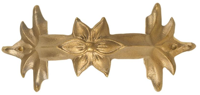 "Blossom style bracket for copper or aluminum downspouts<br /> FMBBL3 	3"" brass - Blossom 	7¾"" x 3½"" 	1½ lbs 	$29.00<br /> FMBBL4 	4"" brass - Blossom 	9"" x 4⅝"" 	1¾ lbs 	$37.00<br />  <br /> FMABL3 	3"" aluminum - Blossom 	7¾"" x 3½"" 	½ lb 	$16.50<br /> FMABL4 	4"" aluminum - Blossom 	9"" x 4⅝"" 	¾ lb 	$19.00"