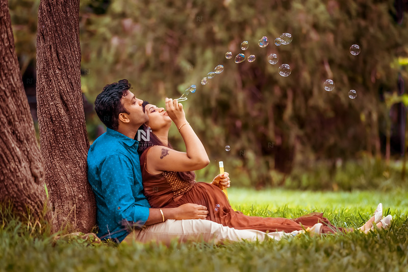 Mom-to-be and dad-to-be in a  beautiful location in Bangalore
