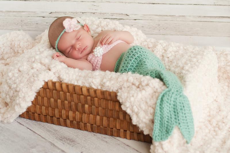 Newborn Baby Girl In A Mermaid Costume