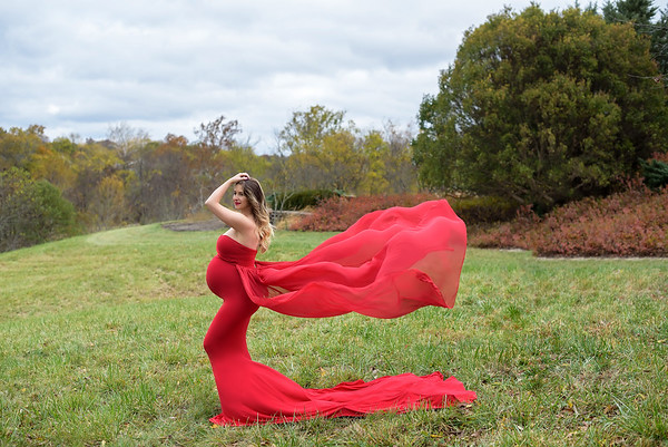 Cincinnati Maternity Photographer red gown with tossing train