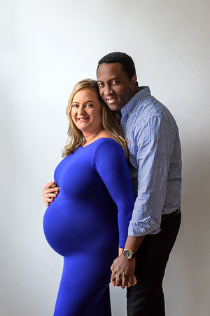 Cincinnati Maternity Photographer Interracial Couple Blue Maternity Gown